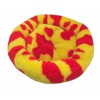 Leos Kedi Ve Köpekler İçin Yuvarlak Minder Yatak Sarı-Kırmızı 52 X 14 Cm