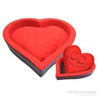 Kedi Köpek Kalp Yatak Kırmızı-Siyah