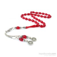 Tesbihevim Kırmızı Renk Sıkma Kehribar Tesbih 925 Ayar Gümüş Püsküllü