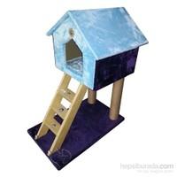 Pet Pretty Ev Desenli Kedi Tırmalama Tahtası Ve Yuvası Desenli Turkuaz-Mor 35 X 78 X 45 Cm