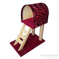 Pet Pretty Merdivenli Kedi Tırmalama Tahtası Ve Yuvası Kırmızı-Siyah 38 X 60 X 80 Cm
