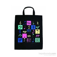 Müzik Motifli 4 Renkli Baskılı Çanta