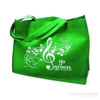 Notalı Bez Çanta - Yeşil