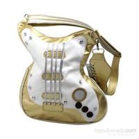 Gitar Şeklinde Çapraz Askılı Gold Çanta