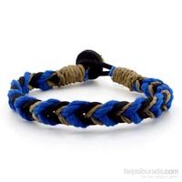 Solfera Siyah Mavi Örgü Model Erkek Halat Bileklik