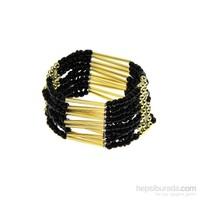Chiccy Altın Siyah Boncuklar Etnik Bileklik