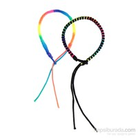 Chiccy Siyah Ve Neon İpler Örgü İkili Bileklik Seti