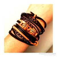 Betico Fashion Turuncu Sarı Siyah Aşkı Bileklik