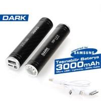 Dark 3000 mAh USB Apple 30Pin/Lightning/MicroUSB Şarj Kablolu Taşınabilir Şarj Cihazı - Siyah (DK-AC-PB3000B)