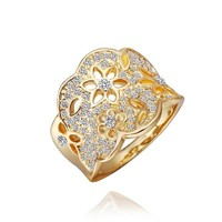 Byzinci İmitasyon Altın Çiçek Zirkon Yüzük