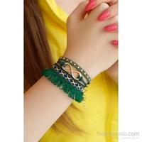 Morvizyon Yeşil Püskül Tasarımlı Sonsuzluk Figürlü Bayan Bileklik Modeli