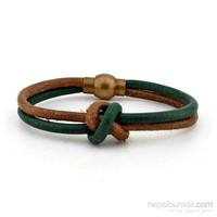 Solfera Yeşil Taba Deri Düğümlü Erkek Bileklik Bt155