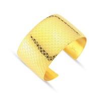 Lochers Altın Kaplama Çelik Hasır Desenli Bilezik