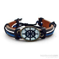 Solfera Mavi Dümen Gemi Deniz Deri Erkek Bileklik B1144