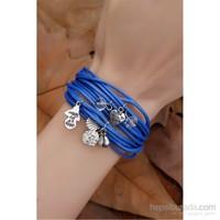 Morvizyon Mavi Çoklu Deri Tasarımlı Bayan Bileklik
