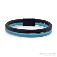 Solfera Çift Sıra Mavi Siyah Deri Erkek Bileklik Bt212