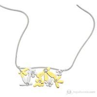 Lochers Çiçek Desenli Çelik Kolye
