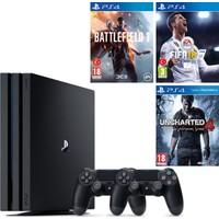 Sony Ps4 Pro 1Tb Oyun Konsolu + 2. Ps4 Kol + Ps4 Battlefield 1 + Ps4 Fifa 18 + Ps4 Uncharted 4