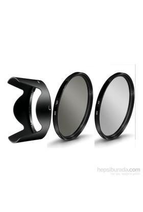 Beta Nikon 18-140Mm Lens İçin Koruyucu Uv + Cpl Polarize Filtre + Hb-32 Parasoley