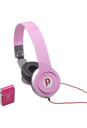 Powerway DRN-X08 4GB Mp3 Çalar + Powerdreams Kulaküstü Kulaklık - Pembe