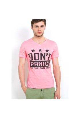 Adze Nar Çiçeği V Yaka Parça Boya Baskılı Erkek T-Shirt