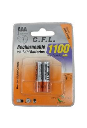 CFL Şarjlı 1100 mAh AAA İnce Kalem pil