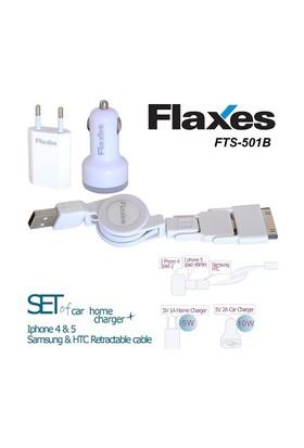 Flaxes FTS-501B 3lü Set Ev - Araç - Notebook iPad 2 - 4 - Mini / New iPad 5V 2,1A Beyaz Çok Amaçlı Uç