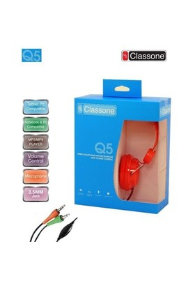 Classone Ml-Q5-Red Classone Q5 Serisi Kulaklık, Mikrofonlu Ve Kablodan Ses Kontrol Kırmızı Renk