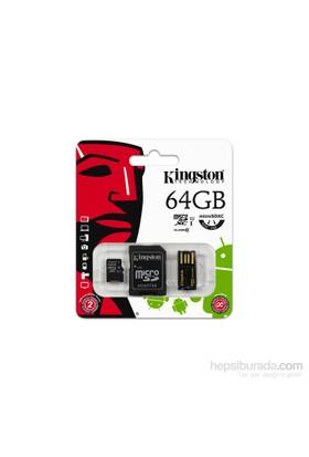 Kingston 64GB Mobility Kit MicroSD Class10 Sd + Usb Adaptör Kit Hafıza Kartı MBLY10G2/64GB