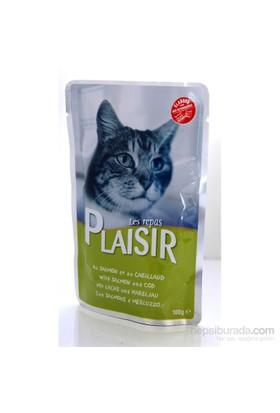 Plaisir Pouch Somonlu-Mezgitli Yaş Kedi Maması 100 Gr