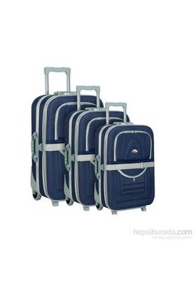 Hçs 3'Lü Valiz Seti Su Geçirmez Bavul Seti Lacivert