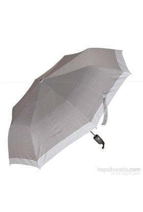 Biggbrella 10319Q67B Otomatik Şemsiye Çizgili Kahverengi Bej