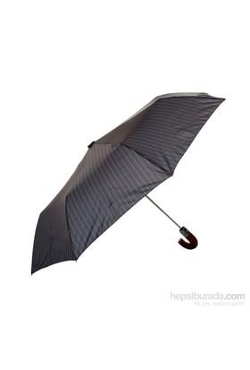 Biggbrella 1088Pc Otomatik Şemsiye Ahşap Saplı Çizgili Gri