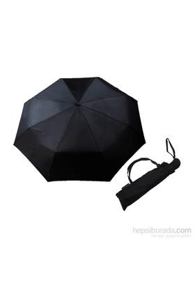 Zeus&Co. Siyah Otomatik Rüzgarda Kırılmayan Şemsiye