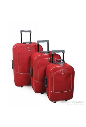 HÇS Havlu Kumaş Üçlü Valiz Seti Kırmızı 10506