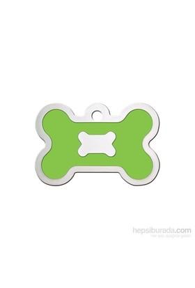 Quick Tag Köpek İsimlik, Kemik, Epoxy Krom, Neon Yeşil Büyük
