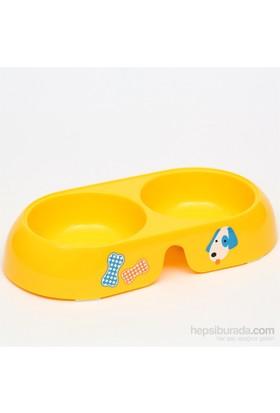 Flip İkili Mama Kabı Orta Boy Oval Sarı *