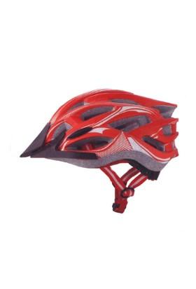 Plus Mv88 Işıklı Kırmızı Beyaz Bisiklet Kaskı