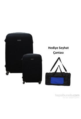 Laguna 2'li Siyah Orta ve Kabin Boy Valiz Seti + Hediye Seyahat Çantası