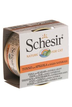 Schesir Cat Broth Naturel Sauce 70Gr - Ton Balıklı Ve Levrek Etli Kedi Konservesi
