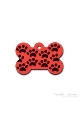 Quick Tag Köpek İsimlik, Kemik, Kırmızı Üzeri Siyah Patili L
