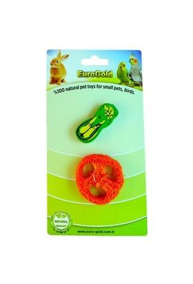 Eurogold Kuşlar Ve Kemirgenler İçin Yenilebilir Meyve Dilimi Ve Ahşap Sebze