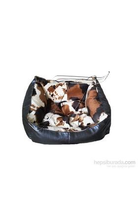Pet Style Deri Köpek Ve Kedi Yatağı Kahverengi Desenli No:2