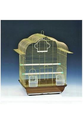 Qhpet Pirinç Telli Çatılı Kuş Kafesi 34,5X28x45,5 Cm