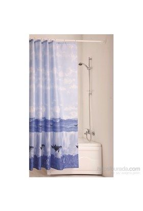 Doğuş Banyo Polyester Banyo Perdesi Tekli-Deniz