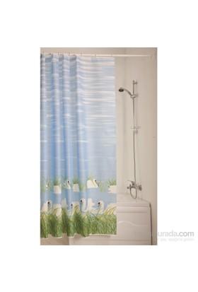 Doğuş Banyo Polyester Banyo Perdesi İkili-Kuğular