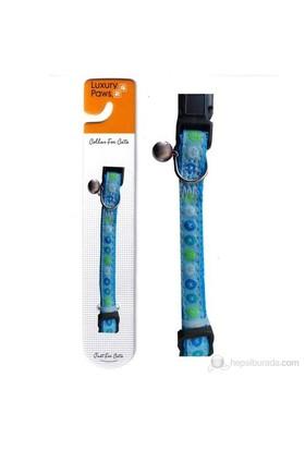 Luxury Paws Desenli Kedi Boyun Tasması Mavi 10mm-30cm fd*