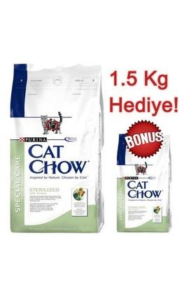 Cat Chow Kısırlaştırılmış Hindili Yetişkin Kuru Kedi Maması 15 Kg + 1,5 Kg