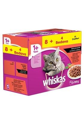 Whiskas Pouch Multipack Etli Çeşitleri Yaş kedi Maması 8 Al 4 Bedava 12 X 100 Gr