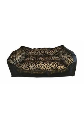 Leos Deri Orta Ve Büyük Irk Köpek Yatağı Leopar Desenli No:3 75 X 55 X 30 Cm